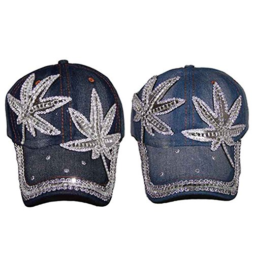 Marijuana  Cannabis Blue Denim Rhinestones Baseball Caps