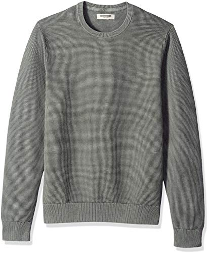 Goodthreads Men's Soft Cotton Thermal Stitch Crewneck Sweater, Washed Grey, ()