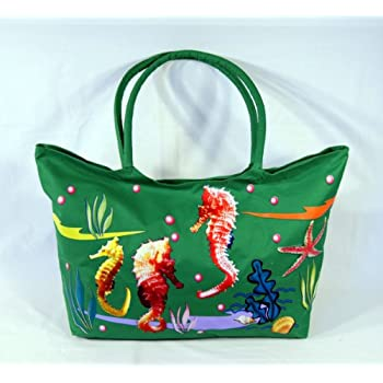 Water Resistent Jumbo Green Canvas Beach Tote Bag Seahorse Design Zipper Closure 24 x 15 x 6""