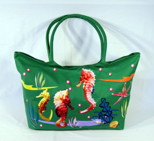 Water Resistent Jumbo Green Canvas Beach Tote Bag Seahorse Design Zipper Closure 24 x 15 x 6