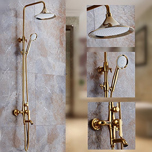SAEKJJ-European-style shower Golden shower bath new copper-suit antique spray suit Bathroom faucet 80%OFF