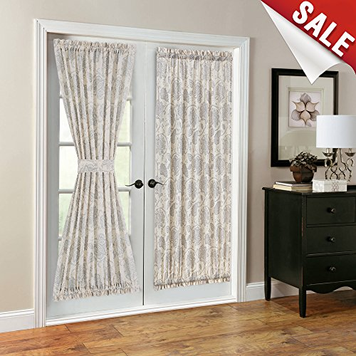 French Door Panel Curtains Paisley Scroll Printed Linen Textured French Door Curtains 72 inches Long French Door Panels, Tieback Included, 1 Panel, ()