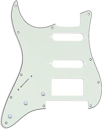 Musiclily Pro 11穴 SSH USA/メキシコ 左利きのストラトキャスターギター フロイドローズブリッジカット用ピックガード、3プライミントグリーン