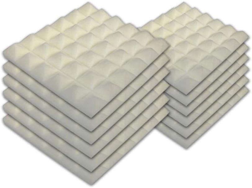 SK Studio Paquete de 12 Insonorizacion Pirámide Espuma Absorcion Aislamiento Acustica Paneles Tratamiento 30x30x2.5cm, Blanco