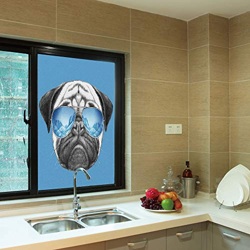 YOLIYANA Frosted Window Film,Pug,for Shop Restaurant Home,Pug Portrait with Mirror Sunglasses Hand Drawn Illustration,24''x36''