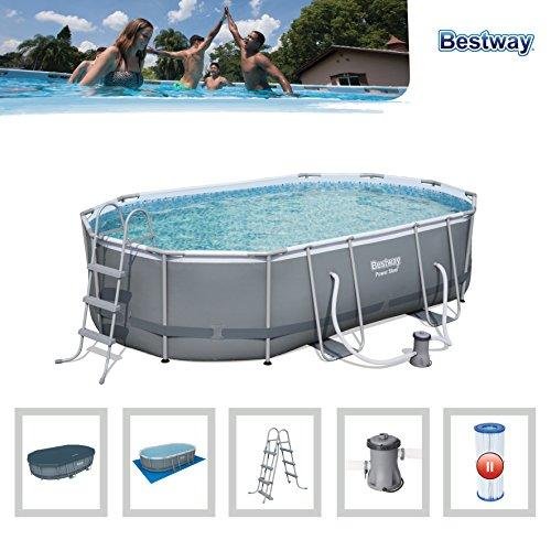 grote korting beperkte garantie nieuw aangekomen Bestway 488 x 305 x 107 cm Power Steel Oval Swimming Pool ...