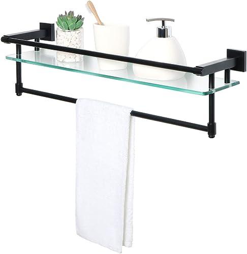 Alise GY9000-B Glass Shelf SUS 304 Stainless Steel Bathroom Shelf with Towel Bar Rail Shower Towel Rack Wall Mount 25-Inch Length,Matte Black