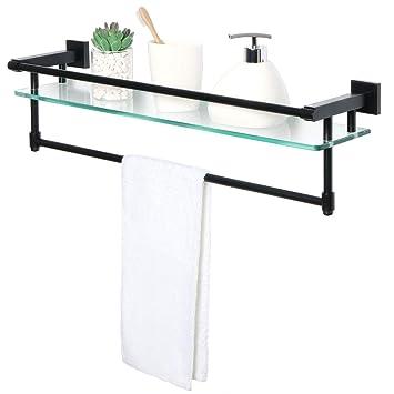 Sayayo Tablette en verre trempé carré étagère de salle de bain avec ...