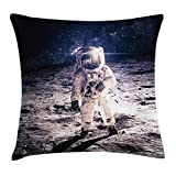 Ambesonne Outer Space Decor Throw Pillow Cushion Cover, Moon Spaceman on Surface of Orbit Background Cosmos Galaxy Solar Photo, Decorative Square Accent Pillow Case, 24 X 24 Inches, Brown Blue