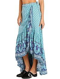 Maxwell Women's Summer Gypsy Style Print Sarong Beach Dress Flowy Long Maxi Skirt