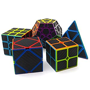 Speed Cube Puzzle Pack | 2x2 3x3 4x4 5x5 Firbe Carbon Stickerless Cube Set | 5 Pieces Magic Cubes Collection | Puzzle Toys Brain Teaser Gifts