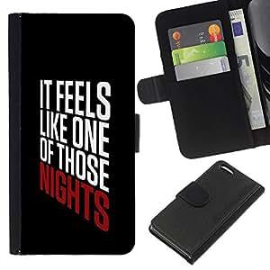 A-type (Nights Text Cool Party Black Poster) Colorida Impresión Funda Cuero Monedero Caja Bolsa Cubierta Caja Piel Card Slots Para Apple Iphone 5C