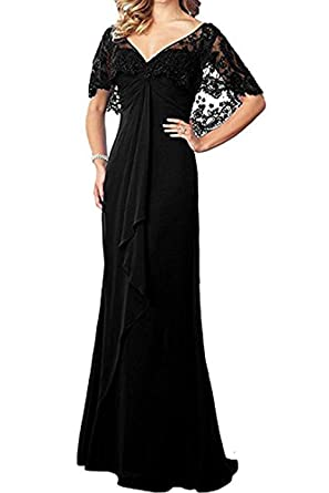 5ba8df4433 20KyleBird Women s V-Neck Cape Sleeves Mother The Bride Dresses Chiffon  Lace Ruffles Long Prom