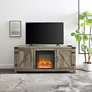 Home Accent Furnishings New 58 Inch Barn Door Fireplace Television Stand (Grey Wash, 58 Inch)