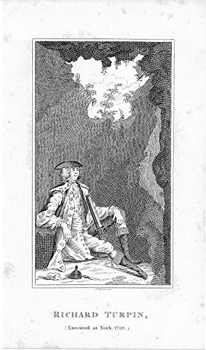 1820 Original Antique - Richard Turpin executed 1739 original antique 1820 engraved folk art portrait