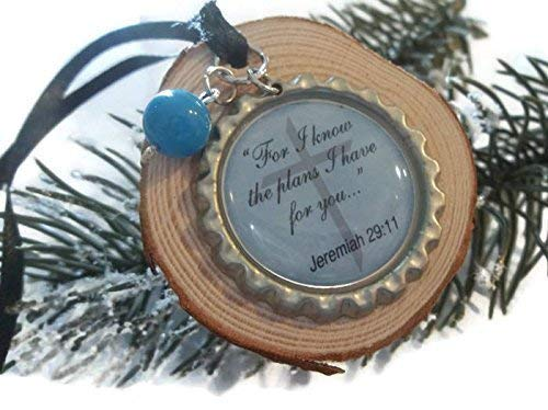 Wood Slice Charm Ornament For I Know The Plans I Have Rustic Decor Wooden Diffuser Mirror Accent (Communion Round Charm)
