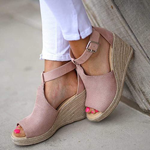 CCOOfhhc Women's Wedge Sandals Casual Sandals Shoes Summer Adjustable Ankle Buckle Open Toe Wedges Heels Pink by CCOOfhhc (Image #5)