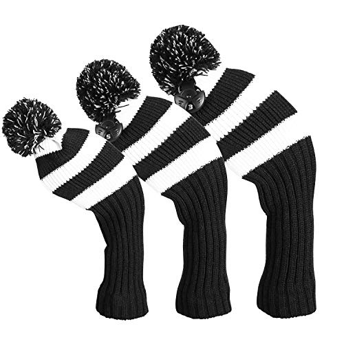 LONGCHAO 3 Pcs Knitted Golf Headcover Driver Cover, Golf Club Wood Head Covers Fit for Driver Wood, Fairway Wood and Hybrid(UT) with Rotating Number Tags for Male/Female Golfers (3 Pcs)