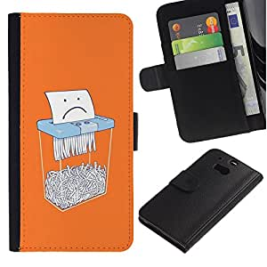 A-type (Paper Sad Cartoon Funny Office) Colorida Impresión Funda Cuero Monedero Caja Bolsa Cubierta Caja Piel Card Slots Para HTC One M8
