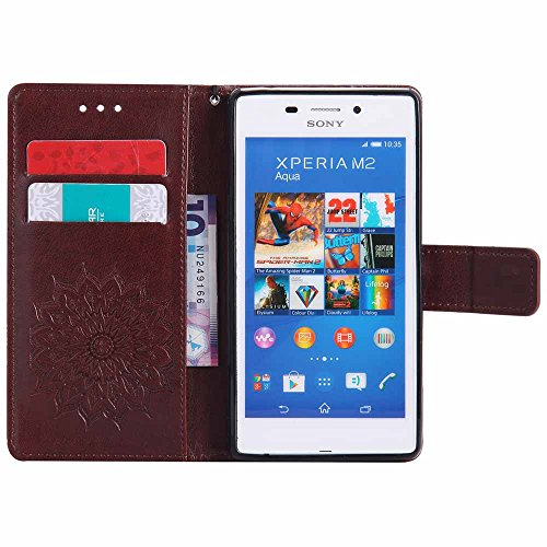 Soft With Sony Card Slim Xperia Dfly Pink Slot Kickstand Aqua Aqua Holder Design Premium M4 Mandala Pu Embossed For Function Cover Leather Protective Case Brown Flip Wallet qgXXwPA