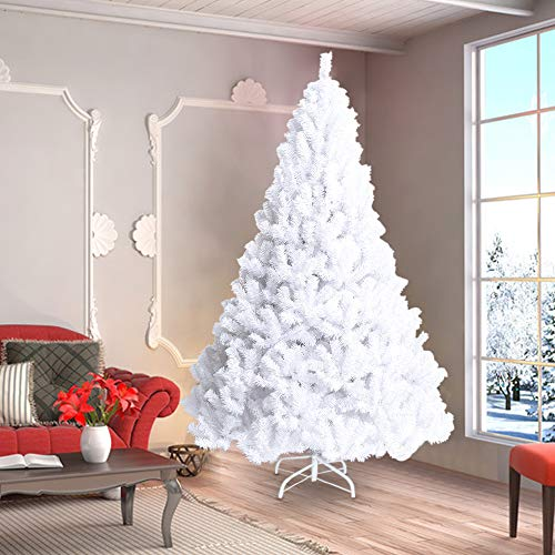 La fete 8 FT Unlit White Artificial Christmas Tree, Premium Pine Xmas Tree with Metal Stand Easy Assembly, Jumbo Pine Xmas Tree Perfect for Indoor and Outdoor Holiday Decoration
