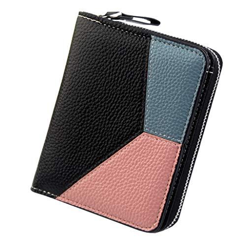 (Wallet Women Vintage Fashion Small Wallet Color Block Zipper Purse Money Bag Zipper Coin Pocket (Black))
