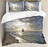 Cityscape Duvet Cover Set, Dubai at Night Cityscape with Tall Skyscrapers Panorama Picture Arabian Peninsula, Decorative 4 Piece Bedding Set with 2 Pillow Covers, Multicolor(Twin)