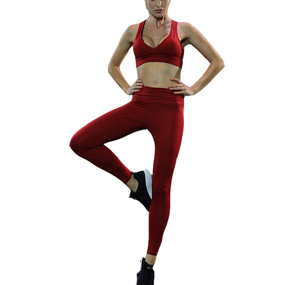 Women 2 Two Pieces Set Gym Yoga Cloth Sports Wrap Crop Tank Top Bra and High Waist Grey Pink Leggings Workout Suit (M, Red 2)