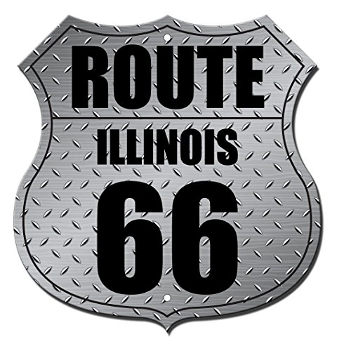 Route 66 Illinois Highway Shield Route Novelty Highway Shield Metal (Route 66 Highway Shield)
