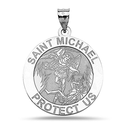 PicturesOnGold.com St Michael Pendant - Sterling Silver Saint Michael Religious Medal - 3/4 Inch - Includes 18 inch Cable Chain.