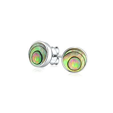 437dae532 Round shape Bezel Set Iridescent Abalone Shell Stud Earrings 925 Sterling  Silver (7mm): Amazon.co.uk: Jewellery
