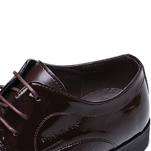 OUOUVALLEY Lace up Patent Leather Oxford Dress Shoes Formal Wedding Shoes 8015 Brown 9.5 D(M) US
