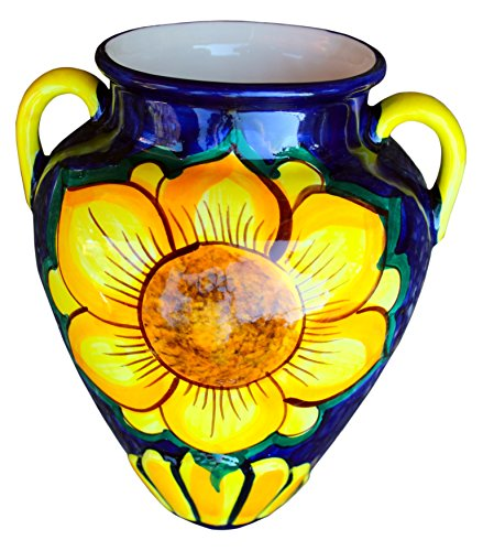 Cactus Canyon Ceramics Wall Flower Pot - Spanish Wall Tinaja - Sunflower