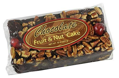 Grandma's Chocolate Fruitcake Dense Moist Brownie like Fruit Nut Cake, Plump Cherries, Pineapple, Raisins, Walnuts, Pecans 1 lb Bar