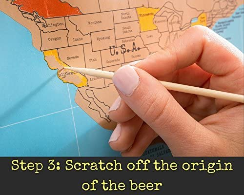 This unique Scratch Off World Beer Map was featured on NBC as a top Beer Lovers Gift//Perfect for the serious Craft Beer Enthusiast//Great Beer Deserves to be Remembered! Beer Cap Map