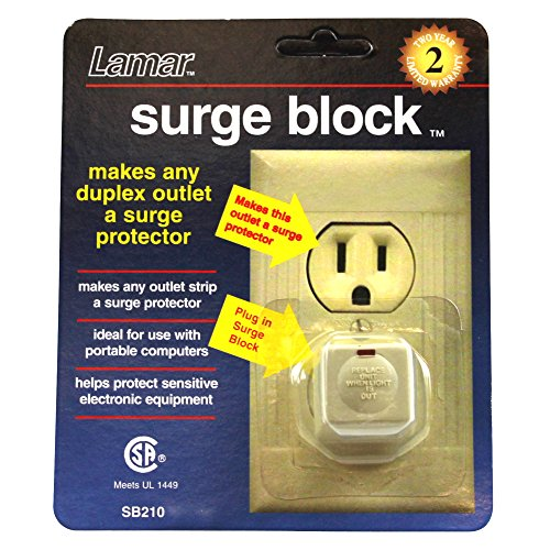 10 Outlet Block Surge (Lamar Surge Block Surge Protector For Duplex Outlet Plug-In, Almond 10 Count)