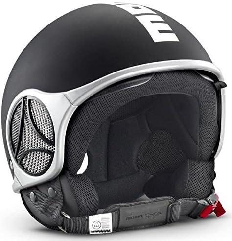 Momo Minimomo Open Face Motorradhelm In Schwarz Matt Mit Logo Weiß In Größe L Sport Freizeit