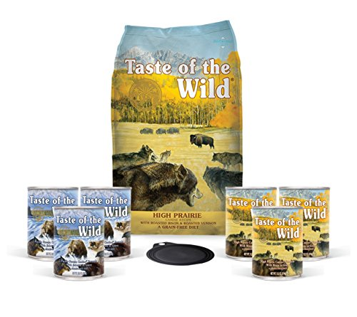 Taste Of The Wild Dog-Food Grain free High Prairie With Roasted Bison 5lb bag 1 Bag 6 Cans & 1 Lid Plus 1 Dog Toy and 1 Leash 10 Total items