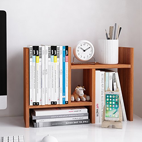Jerry & Maggie - Desktop Organizer Office Storage Rack Adjustable Wood Display Shelf - free style double H display - True Natural Stand Shelf (Document Organizer Deluxe)