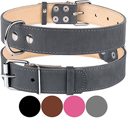 CollarDirect Genuine Leather Dog Collar, Handmade Collar for Dog, Soft Puppy Collar Small Medium Large Pink Gray Black Brown (Neck Fit 15 – 20 W 1,…