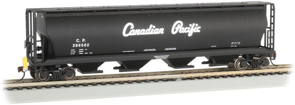 Canadian 4-Bay Cylindrical Grain Hopper with Flashing End of Train Device Canadian Pacific (Black W/Script Lettering) - HO Scale