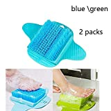 Shower Foot Scrubber - Bath Floor Brush to Clean The Soles and Callus - Inhale The Floor - Use soap and Water (Color : Blue Green)