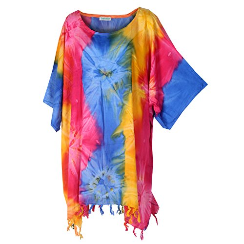 Tropicalsale Women's Yellow Pink Blue Tie-Dye Kaftan Tunic Top Big Plus Size