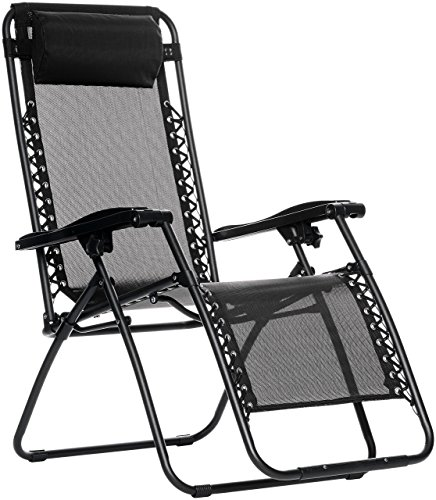 AmazonBasics Outdoor Zero Gravity Lounge Folding Chair, Black (Outdoor Chairs)