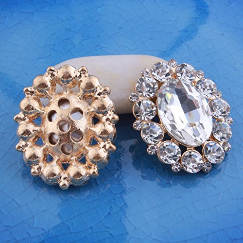 Brass Silver Tone Rhinestone Crystal Brooch DIY Pin Glue-on Jewelry Garment Crafts Buttons (pack of 10pcs) (GOLD TONE) ()
