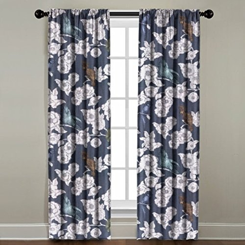 The Pillow Collection Rod Pocket Birds on Floral Window Panel, 96'' Long, Charcoal