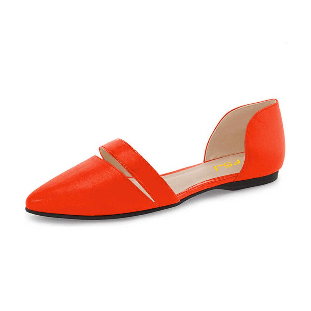 FSJ Women Cute D'Orsay Ballet Flats for Comfort Pointed Toe Low Heels Dress Shoes Size 4-15 US B06Y4PL2PT 4 B(M) US|Orange