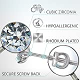 Stud Earrings - Sterling Silver Stud Earrings S925 CZ-Round Crystal Cubic Zirconia Stud Earrings, Rhodium Plated Jewelry Studs for Women Girls-With Screw Backs, Hypoallergenic 10 PRONG! 11 STONES!