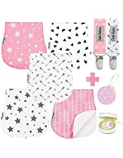 Baby Burp Cloths Pack of 5 by Dodo Babies + 2 Pacifier Clips + Pacifier Case Premium Quality for Girls Soft and Absorbent Excellent Baby Shower/Registry Gift