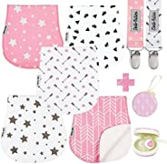 Baby Burp Cloths Pack of 5 by Dodo Babies + 2 Pacifier Clips + Pacifier Case, Premium Quality For Girls Soft and Absorbent,